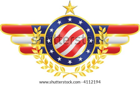 Vector american patriotic emblem made of gold, silver and silk with fragments of american flag, stars, olive branches - stock vector