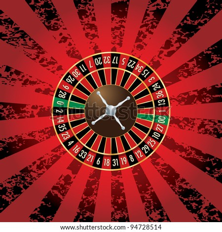 vector american roulette wheel on grunge background - stock vector