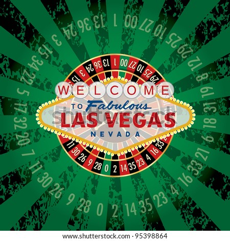 vector american roulette wheel with Las Vegas sign - stock vector