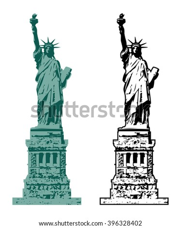 vector american symbol of New York statue of liberty - stock vector