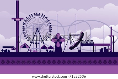 vector amusement park illustration - stock vector