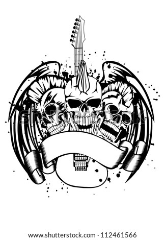 Vector an illustration three skulls of punks guitar and wings - stock vector