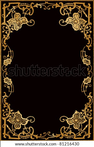 "vector ancient luxury golden frame ( picture was taken from Abell, Mrs. L. G.: ""Gems by the Way-Side: An Offering of Purity and Truth"" (1878) - stock vector"