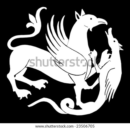 vector - ancient winged dragons - stock vector