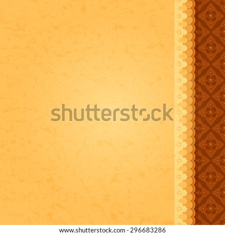 Vector ancient yellow vertical background with east ornament and texture of paper