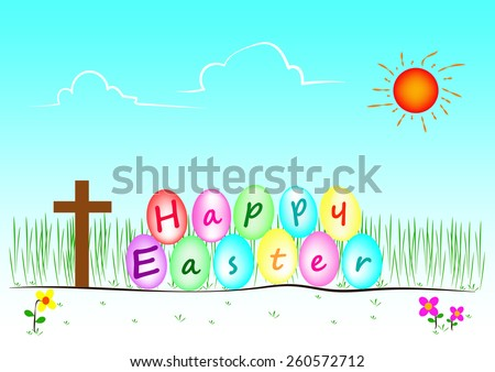 Vector and illustration of Happy easter day - stock vector
