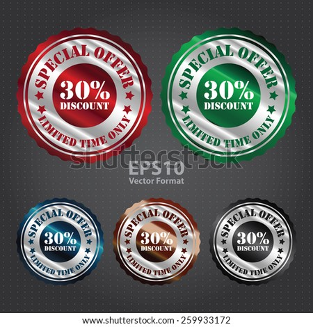 vector : and silver metallic special offer 30% discount limited time only sticker, sign, stamp, icon, label  - stock vector