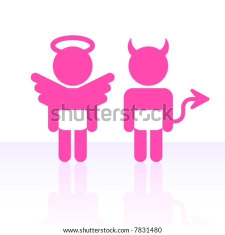 Vector angel and devil. - stock vector