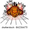 vector angry halloween skull with bats and witch - stock vector