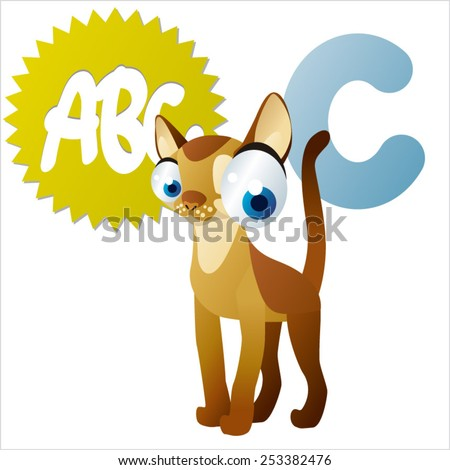 Vector animal abc: C is for Cat - stock vector
