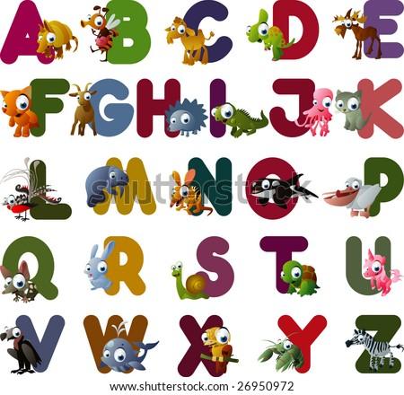 vector animal alphabet - stock vector