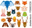vector animal head icons - stock vector