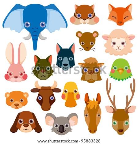 vector animal head icons - stock vector