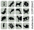 Vector animal icons set collection - stock vector