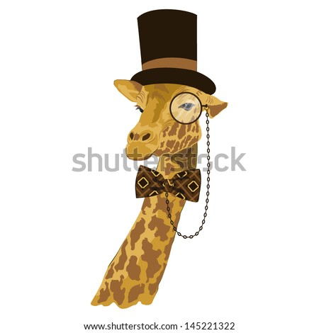 vector animal, portrait of giraffe in tall hat with printed bow tie and monocle, vintage look, dressed in retro style - stock vector