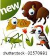 vector animal set 275: bison, woodpecker, cuttlefish, grasshopper - stock vector