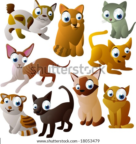vector animal set 99: cats