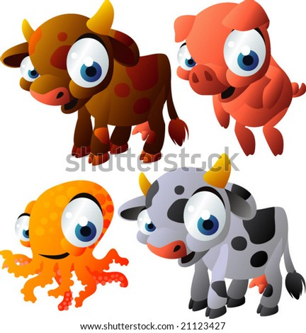 vector animal set 130: cows, pig, octopus