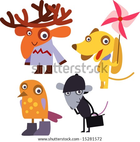 vector animal set 16: elk, dog, bird, mouse - stock vector