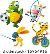 vector animal set 42: olympic games set: turtle, cow, hare, tiger - stock vector