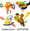 vector animal set 46: olympic: monkey, toucan, duck, dog - stock photo