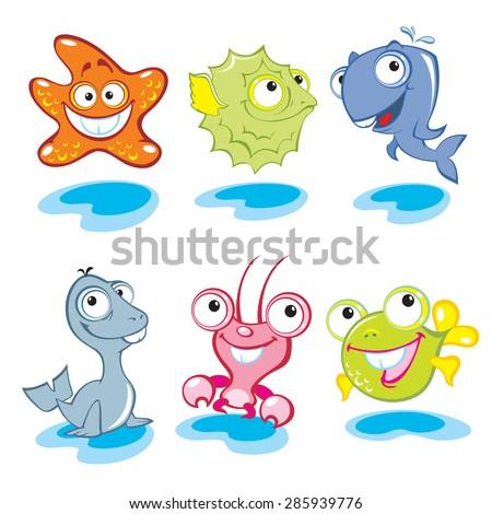 Vector animals. Big eyes animals. Cute animals. Sea world.  - stock vector
