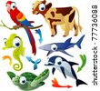 vector animals: parrot, cow, shark, seahorse, dolphin, turtle - stock vector