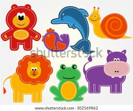 Vector animals set kids stickers - stock vector