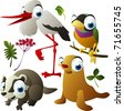 vector animals: stork, finch, badger, seal - stock vector