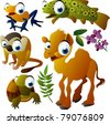 vector animals: tree frog, trout, camel, monkey, turtle - stock vector