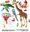 vector animals: turtle, giraffe, crab, parrot, jelly fish - stock vector