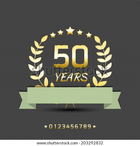 Vector anniversary golden sign. - stock vector