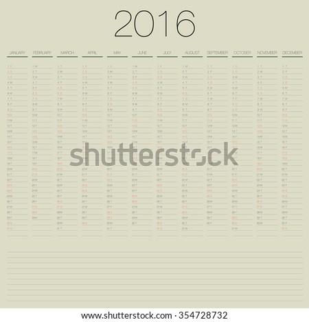 vector 2016 annual planner calendar template organizer - stock vector