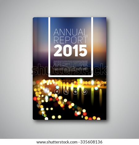 Vector Annual report 2015, book or brochure, Modern design template, bokeh blurred city on background - stock vector