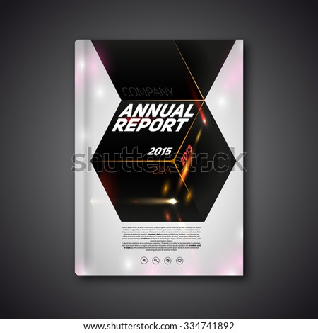Vector Annual report 2015, book or brochure, Modern design template, dark cube background - stock vector