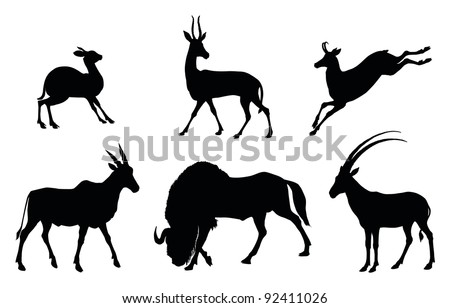 Vector antelopes silhouettes - stock vector