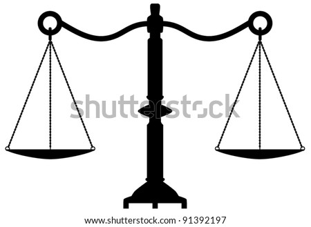vector antique scales of justice - stock vector