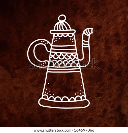 Vector antique teapot. White. Vector design element on textured paper. Can be used for web and printing. Hand drawn design element. - stock vector
