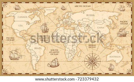 Vector antique world map countries boundaries vector de vector antique world map with countries boundaries antique world vintage map grunge america and gumiabroncs Choice Image