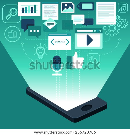 Vector app development and digital marketing concept in flat style - infographics and icons  - stock vector