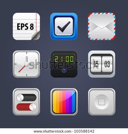 vector app icon set - stock vector
