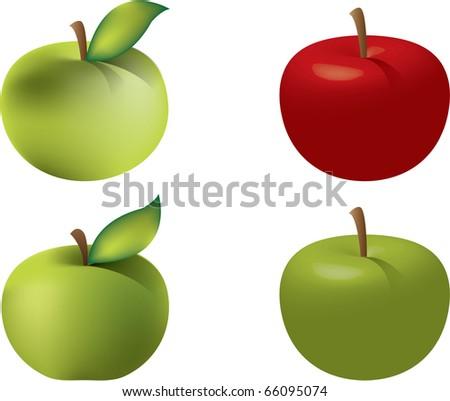 Vector apple illustration - stock vector