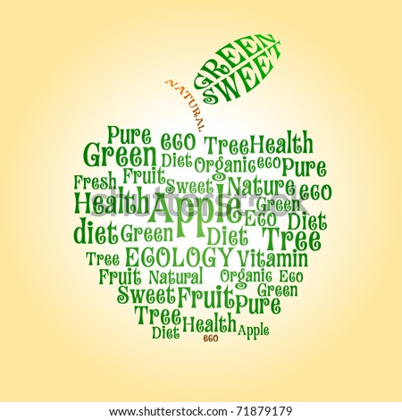 Vector apple of wordcloud - stock vector