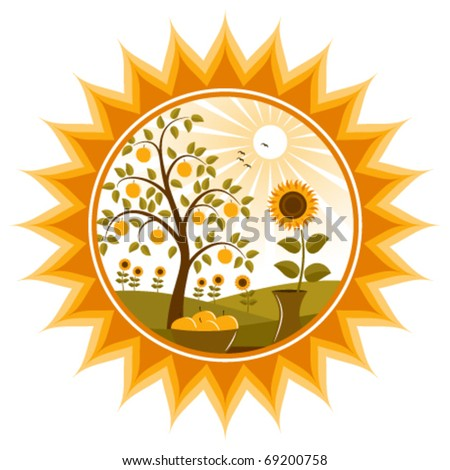 vector apple tree and sunflowers in sun - stock vector