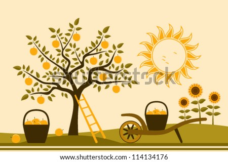 vector apple tree, hand barrow with basket of apples and sunflowers - stock vector