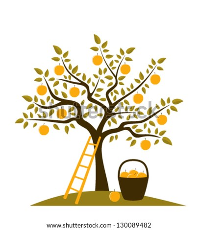 vector apple tree, ladder and basket of apples - stock vector