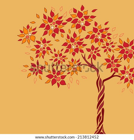 vector apple tree with leaves, apples