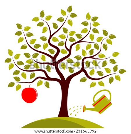 vector apple tree with one big apple and watering can isolated on white background