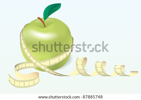 Vector apple with tape - stock vector