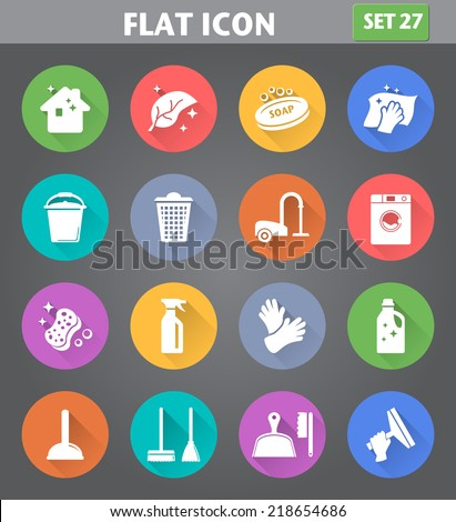 Vector application Cleaning Icons set in flat style with long shadows. - stock vector